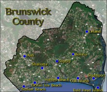 Map of Brunswick County