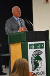 Sheriff Ingram speaking at West Brunswick High School