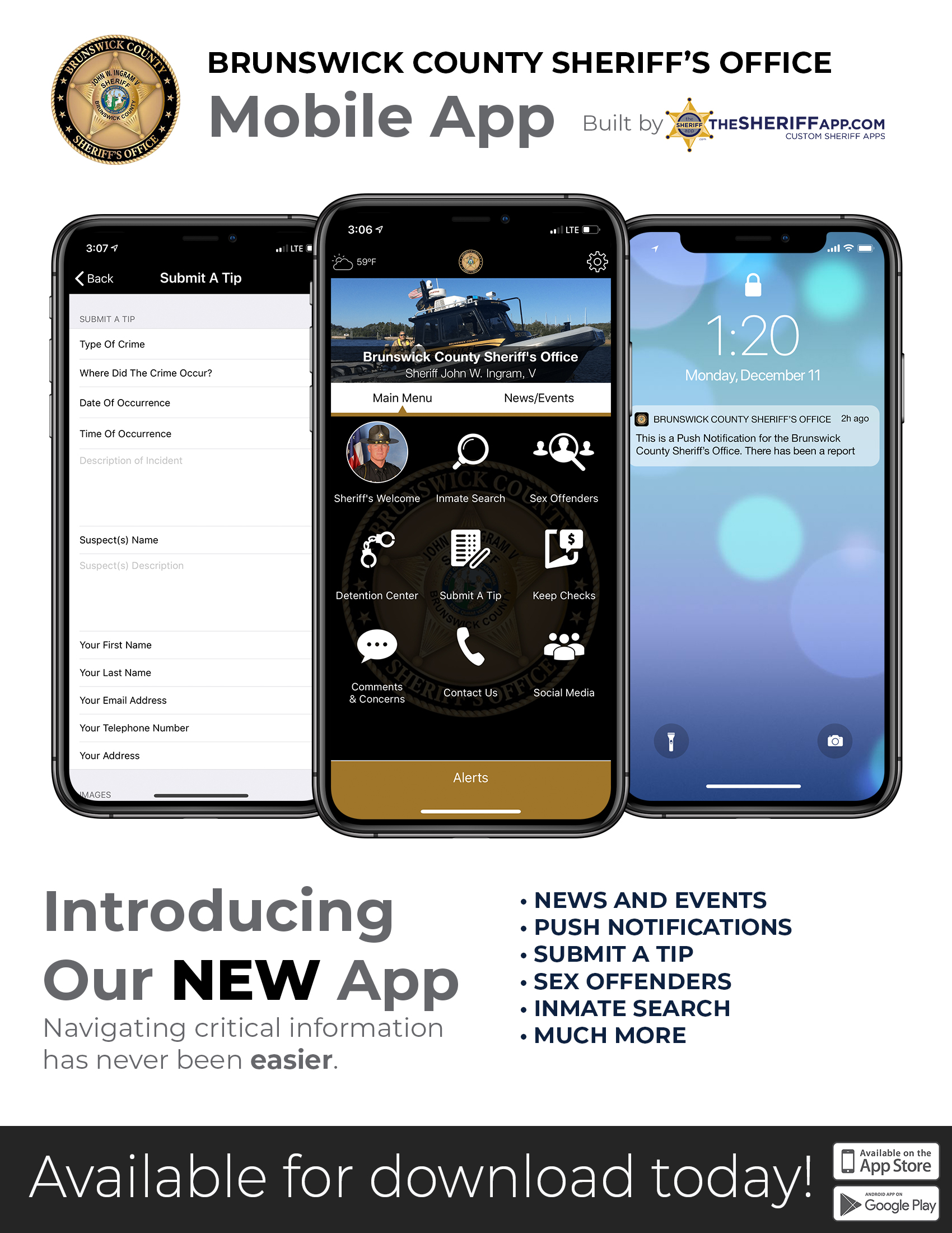 New Mobile App Launched | Brunswick County Sheriff's Office